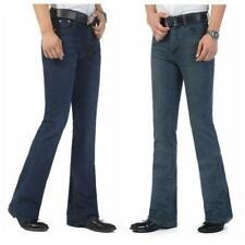 Men Flared Jeans Fitted Bell Bottom Denim Slim Fit Trousers Long Pants Vintage