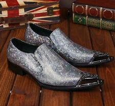 Metal Pointy Toe Men's Leather Dress Shoes Brogue Shiny Wedding Casual Nightclub