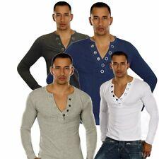 MAGLIETTA da UOMO MANICA LUNGA maniche lunghe COTONE scollo a V t-shirt maglia
