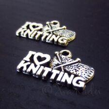 16pcs tibetan silver tone I LOVE KNITTING charms EF2236