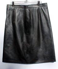 New black A-line knee length 100% Napa Leather skirt with side slit