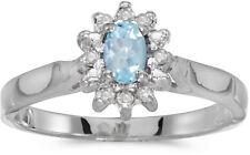 10k White Gold Oval Aquamarine And Diamond Ring (CM-RM6410W-03)