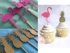 Hawaiian Tropical Flamingo Cocktail Pick Cupcake Topper Glitter Pink Party FUN