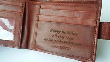 Tan Personalised Engraved Men's Leather Wallet Birthday Christmas Dad Grandad