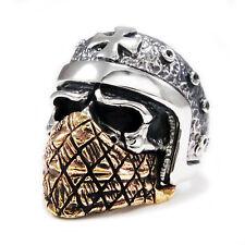 Sterling Silver Outlaw Cross Ring tan-r030 Bronze Bandana Skull Helmet Biker 925