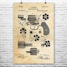 Revolver Handgun Poster Art Print Gun Wall Art Revolver Design Revolver Patent