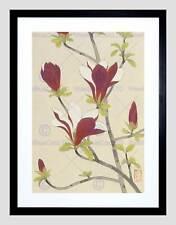 NATURE FLOWER MAGNOLIA JAPAN KAWASE HASUI BLACK FRAMED ART PRINT B12X3594