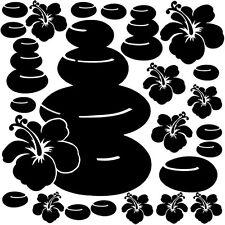 Sticker Planche Galets et Fleurs Hibiscus, Tailles et Coloris Divers (SDB009)