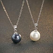 Halskette Anhänger Perle echt Sterling Silber 925 Weiß Tahiti Grau Muschelkern