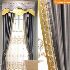luxury modern minimalist solid Nordic grey cloth blackout curtain panel B137