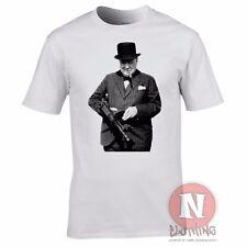 Winston Churchill ametralladora Segunda Guerra Mundial T-shirt. primer ministro Segunda Guerra Mundial