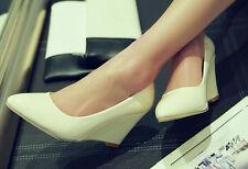 Décollte Zapatos de salón elegantes cómodo mujer cuña 8 cm blanco como piel 9240