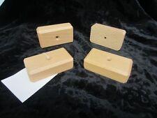 4x Möbelfüsse - Holz - Buche hell - rechteckig - flach - sm - Höhe: 2,6cm
