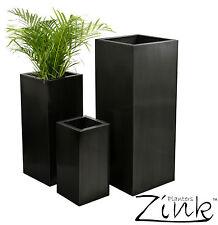 Tall Zinc Cube Metal Garden Planter Plant Pot Tub Weatherproof Patio Indoor