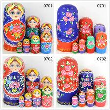 Hand Painted Flower Wooden Russian Nesting Doll Babushka Matryoshka Xmas Gift