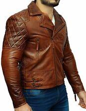 Mens Biker Motorcycle Vintage Distressed Brown Leather Jacket