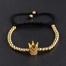 18k Gold Plated Cubic Zirconia King Crown 4mm Copper Beads Men's Bracelets Gift