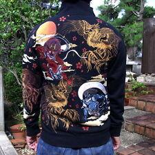 Japanese Pattern Sukajan Jacket Cotton Embroidery Mens Coat Phoenix Tatoo Totem