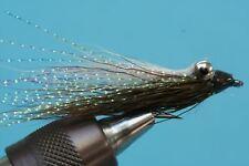 Fliegentom Streamer 3 Stück  Clouser Deep Minnow - weiß/dunkeloliv