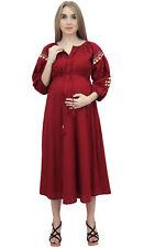 Bomba Mütter Puff Ärmel Kordelzug Pflege Rot Mutterschaft Midi Kleid