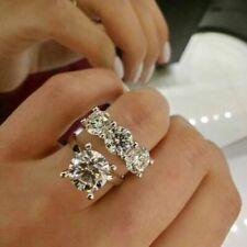 White Sapphire Birthstone 10KT White Gold Filled Wedding Bridal Ring Set Sz 5-10