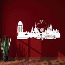 Wandtattoo Uhr KARLSSON Wanduhr Skyline Barcelona Spanien Spain town clock +396+