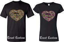 Superman t-shirt Heart Camo Couples Matching Logo NEW Design