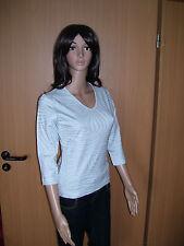 SARAH LOOM, Oberteil Shirt, STRETCH, blau/grau, silber gestreift, Gr. S, XL NEU!