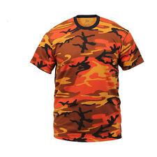 Orange Camouflage T-Shirt Hunting Camo Autumn Fall Paintball USMC Harley Airsoft