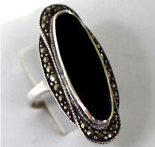 925 ECHT SILBER *** Großer Onyx - Markasit Ring, Größenauswahl