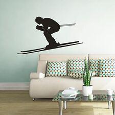 Schatten Wandtattoo Ski Skifahrer Abfahrt Slalom Sport Wandaufkleber Sticker 2