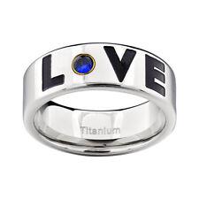 Titanium LOVE Monogram Blue Cubic Zirconia Solitaire Men's Wedding Band