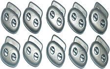 SPRING TWIN HOLE CORD LOCK PLASTIC TOGGLES, GREY H-20MM, W-24MM, CHOOSE QUANTITY