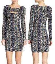 GUESS Blue-Multi Python Snakeskin Stretch Bodycon Dress, M - MSRP $98