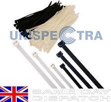 Black & White Nylon Plastic Cable Ties Zip Tie Wraps 150x4mm 200x5mm 300x5mm