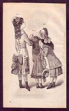 1800's Old Vintage Childrens Girls Dresses Victorian Fashion Art PRINT c
