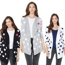 $80 Faith & Zoe Intarsia Heart Sweater Cardigan 456109J CLEARANCE $54.95