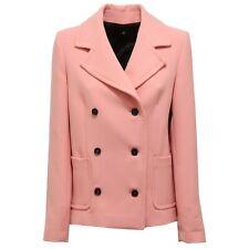 9244U cappotto donna rosa 1 ONE doppiopetto coat woman