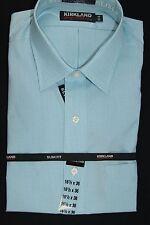 NWT Kirkland Mens Non Iron 80/2 Dress Shirt Semi Spread Collar 100% Cotton