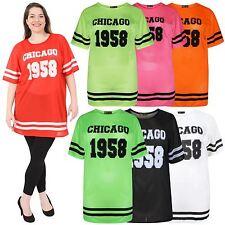 Ladies Neon Colour Air Tech Stripe Chicago 1958 Number Print Baggy T-Shirts 8-26