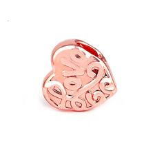 Rose Gold Love Romance Heart Charm Bead fits European Charm Bracelets + Gift Bag