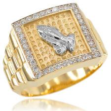 New Gold Watchband Design Men's Religious Praying Hands CZ Ring