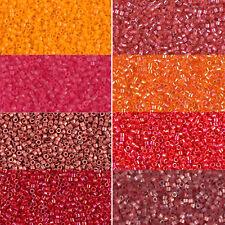 Miyuki Delica Beads rund 11/0 1,6mm rot, beere, orange, lachs a 5 Gramm