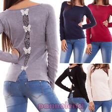 Suéter de mujer pulóver cuello cuadrado espalda encaje mariposas strass G152