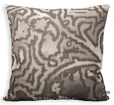 SAHCO MIDA Designer di lusso Grigio Silver Silk Tessuto Cuscino Copricuscino E