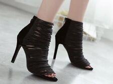 Sandali stivali eleganti tacco stiletto 11 cm nero oro simil pelle eleganti 9853
