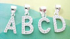 Real Sterling Silver initial LETTERS CZ (A B C D E F G H J K L M N P S) pendant
