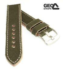 GEO-Straps Canvas Uhrenarmband Modell Vintage-Leinen oliv 22 mm Handarbeit