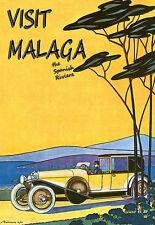 Art Poster Visit Malaga The Spanish Riviera Spain Travel Deco Print