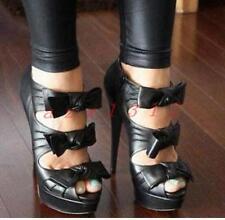 Sexy Women's Stilettos Bowknot High Heel Platform Open Toe Sandals Casual Shoes